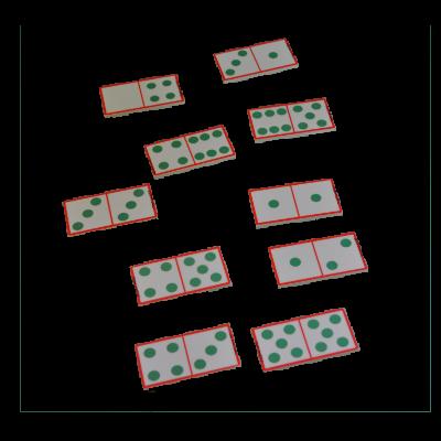 Matériel du jeu de dominos en bois